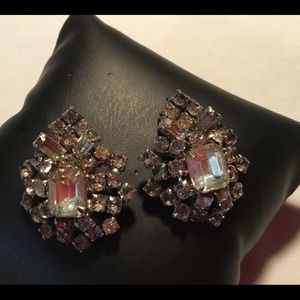 La rel rhinestone earrings huge rare item